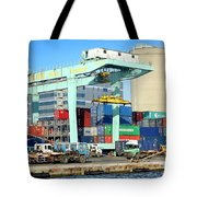 A Container Is Loaded In Kaohsiung Port Tote Bag
