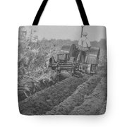 A Farmer Driving A Tractor Tote Bag