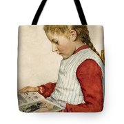 A Girl Looking At A Book Tote Bag