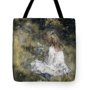 A Girl With Flowers On The Grass Tote Bag