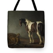 A Horse With A Saddle Beside It Tote Bag