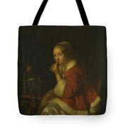 A Lady At A Spinning Wheel Tote Bag