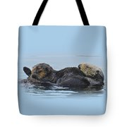 A Mama Sea Otter And Her Babe Tote Bag