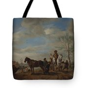 A Man And A Woman On Horseback Tote Bag
