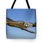 A P-51a Mustang In Flight Tote Bag