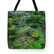 A Pretty Pond Full Of Lily Pads At A Water Temple In Bali. Tote Bag