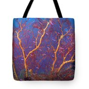 A Red Sea Fan With Purple Anthias Fish Tote Bag