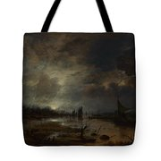 A River Near A Town By Moonlight Tote Bag
