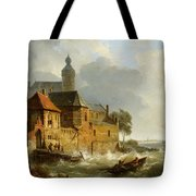 A Rowing Boat In Stormy Seas Near A City Tote Bag