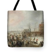 A Scene On The Ice Near A Town Tote Bag