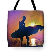 A Surfer Watching The Waves At Sunset Tote Bag