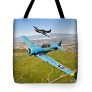 A T-6 Texan And P-51d Mustang In Flight Tote Bag