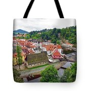 A View Overlooking The Vltava River And Cesky Krumlov In The Czech Republic Tote Bag