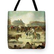 A Village Bullfight Tote Bag
