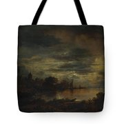 A Village By A River In Moonlight Tote Bag