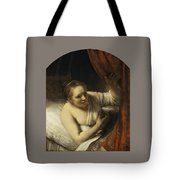 A Woman In Bed Tote Bag
