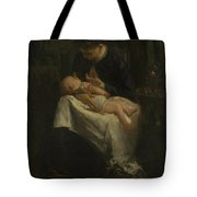 A Young Woman Nursing A Baby Tote Bag