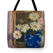 Abbott Graves 1859-1936 Flowers In A Blue Vase Tote Bag