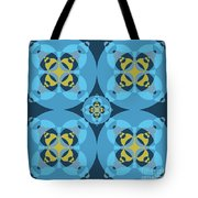 Abstract Mandala Cyan, Dark Blue And Yellow Pattern For Home Decoration Tote Bag