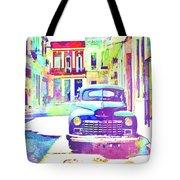 Abstract Watercolor - Havana Cuba Classic Car IIi Tote Bag