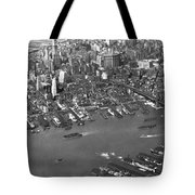 Aerial View Of Lower Manhattan Tote Bag