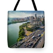 Aerial View Of The Austin Skyline As Rush Hour Traffic Picks Up On I-35 Tote Bag