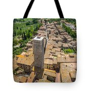 Aerial Wide-angle View Of The Historic Town Of San Gimignano Wit Tote Bag
