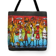 African Woman Carrying On Head Tote Bag