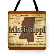 Aged Mississippi State Pride Map Silhouette  Tote Bag