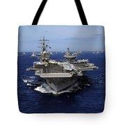 Aircraft Carrier Uss Ronald Reagan Tote Bag