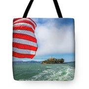 Alcatraz Island With American Flag Tote Bag