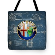 Alfa Romeo 3 D Badge Over 1938 Alfa Romeo 8 C 2900 B Vintage Blueprint Tote Bag