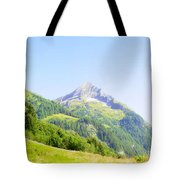 Alpine Mountain Peak Landscape. Tote Bag