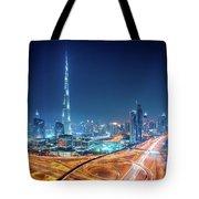 Amazing Night Dubai Downtown Skyline, Dubai, United Arab Emirates Tote Bag