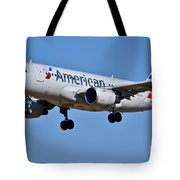 American Airlines Plane Preparing To Land At The Bwi Airport Tote Bag
