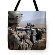 An Afghan Commando Scans The Horizon Tote Bag