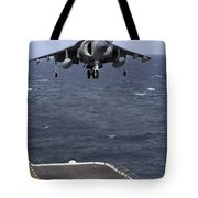 An Av-8b Harrier II Prepares To Land Tote Bag
