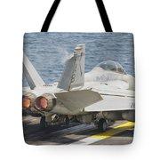 An Fa-18f Super Hornet Taking Off Tote Bag