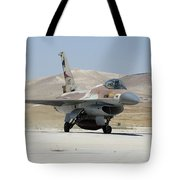 An Israeli Air Force F-16a Netz Taxiing Tote Bag