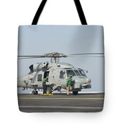 An Mh-60r Seahawk Embarked Aboard Uss Tote Bag