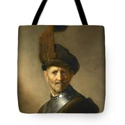 An Old Man In Military Costume Tote Bag