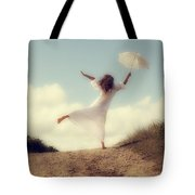 Angel With Parasol Tote Bag