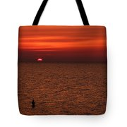 Angler In Summer Sunset Tote Bag