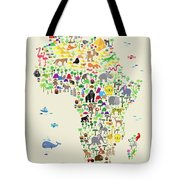 Animal Map Of Africa For Children And Kids Tote Bag