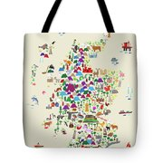 Animal Map Of Scotland For Children And Kids Tote Bag