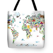 Animal Map Of The World For Children And Kids Tote Bag