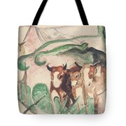 Animals In A Landscape Tote Bag