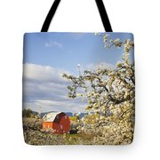 Apple Blossom Trees And A Red Barn In Tote Bag