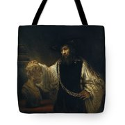 Aristotle With A Bust Of Homer Tote Bag