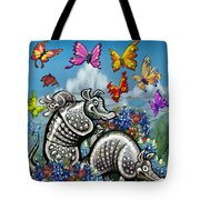 Armadillos Bluebonnets And Butterflies Tote Bag